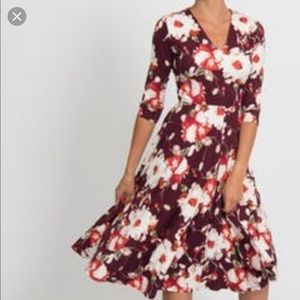 Agnes and Dora Floral Midi Dress with Pockets XXL